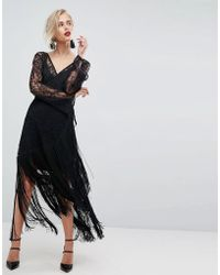 ASOS - Asos Lace Deep Plunge Fringe Wrap Midi Dress - Lyst