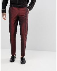 ASOS - Skinny Suit Pants In Red Lava Jacquard - Lyst