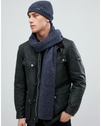 Barbour - Donegal Knit Gift Set Scarf And Hat In Navy - Lyst