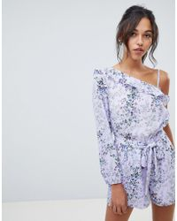 69627b8eedf Lyst - Oh My Love Wrap Front 3 4 Sleeve Playsuit In Floral Print
