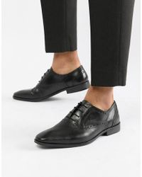 Dune - Saffiano Brogue Shoes In Black Leather - Lyst