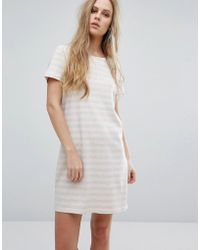 Vila - Scoop Neck Striped Dress - Lyst