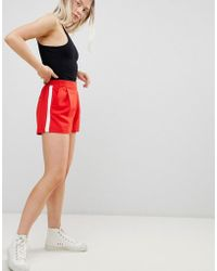 Pull&Bear - Tailored Side Stripe Short In Red - Lyst