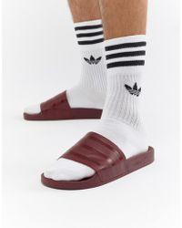 adidas Originals - Adilette Sliders In Red Cq3095 - Lyst