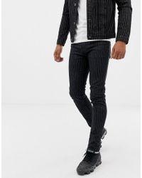 Liquor N Poker - Jeans With Pinstripe In Black - Lyst