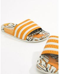 adidas Originals - Adidas X Farm Adilette Slider Sandals In Tropical Print - Lyst
