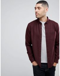 ASOS - Overshirt In Wool Mix Herringbone In Burgundy - Lyst