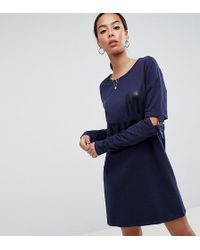 Noisy May Tall - Long Sweater With Buckle Sleeves - Lyst