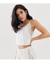 Wolf & Whistle Lace Trim Cami Short Pyjama Set In White