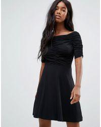 ASOS - Mini Tea Dress With Ruching Detail - Lyst