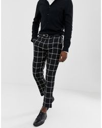 Pull&Bear - Slim Tailored Trousers In Black Check - Lyst