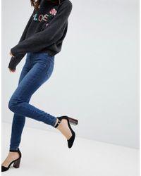 Vero Moda - High Waisted Skinny Jean In Blue - Lyst