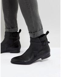 HUGO - Hugo Cult Stud Leather Chelsea Boots In Black - Lyst
