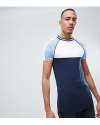 ASOS - Design Tall Muscle Raglan T-shirt With Interest Fabric Sleeves And Piping In Blue - Lyst