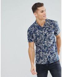 Bellfield - Short Sleeve Revere Collar Shirt With Wave Print - Lyst