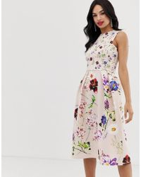 bee2e8a87bf1 Lyst - True Violet Sateen Floral Print Debutante Prom Midi Dress in Pink