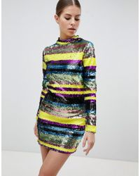 Club L - Long Sleeve Rainbow Sequin Mini Bodycon Dress - Lyst