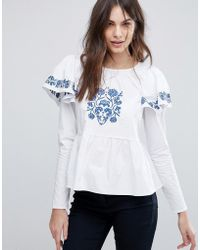 Fashion Union - Embroidered Blouse With Puff Sleeves - Lyst