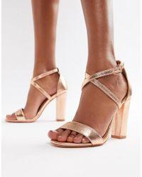 6cd51b5ec41 Glamorous - Metallic Cross Strap Block Heel Sandals In Rose Gold - Lyst
