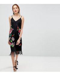 ASOS - Premium Embroidered Slip Cami Midi Dress With Fringing - Lyst