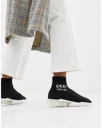 DKNY - Nora Sock Sneaker With Clear Heel - Lyst