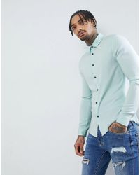 ASOS - Design Skinny Viscose Shirt In Pale Blue - Lyst