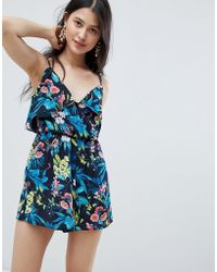 Oh My Love - Frilled Layed Cami Romper In Floral Print - Lyst