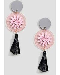 ASOS - Design Resin Pop Raffia Tassel Drop Earrings - Lyst