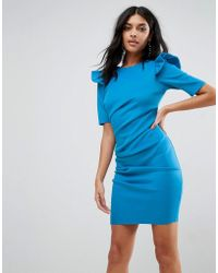 ASOS - Asos Scuba V Back Mini Dress With Shoulder Ruffle - Lyst