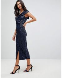 Lavish Alice - One Shoulder Midi Dress With Twist Detail In Velvet Sequin - Lyst