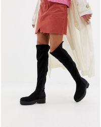 2570c91b0d5 Glamorous Thigh High Taupe Chunky Heeled Over The Knee Boots in ...