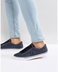 Fred Perry - Underspin Leather Trainers In Navy - Lyst