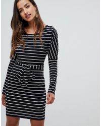Girl In Mind - Long Sleeve Belted Striped Bodycon Dress - Lyst