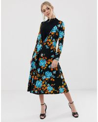 ASOS - Mixed Fabric Floral Button Front Midi Dress - Lyst