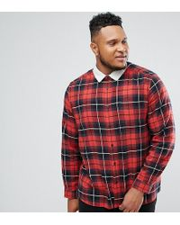 ASOS - Design Plus Check Overshirt With Borg Collar - Lyst