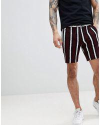ASOS - Slim Mid Length Shorts In Bold Stripe - Lyst