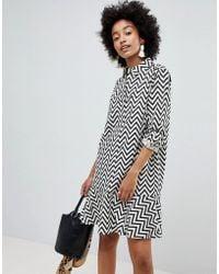 ASOS - Design Shirt Dress With Pephem In Mono Chevron Stripe - Lyst