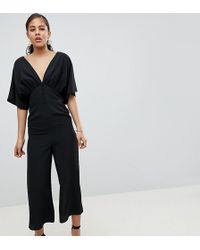 ASOS - Asos Design Tall Tea Jumpsuit With Kimono Sleeve And Button Detail - Lyst
