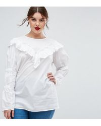 ASOS - Cotton Top With Frill Detail & Ruched Sleeve - Lyst