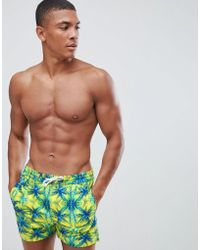 Boohoo - Swim Shorts With Tropical Print In Green - Lyst