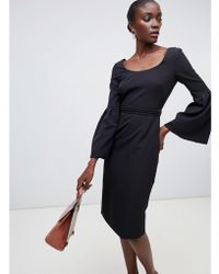 Finery London - Elgin Fluted Sleeve Dress With Beaded Belt - Lyst