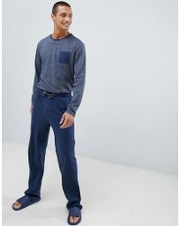 Tokyo Laundry Cotton Fleck Long Sleeve Pyjamas In Navy - Blue