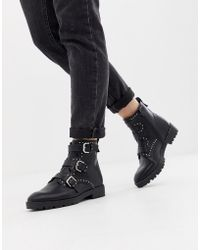 Pull&Bear - Boot Studded And Buckle Strap Boot - Lyst