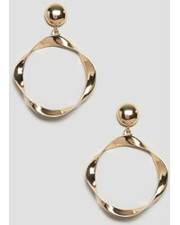 ASOS - Earrings With Twisted Open Circle In Gold - Lyst