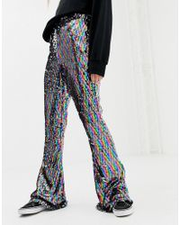 Daisy Street - Flared Trousers In Rainbow Sequin - Lyst