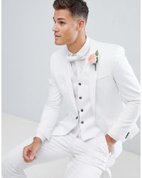 ASOS DESIGN - Wedding Skinny Suit Jacket With Square Hem In White - Lyst