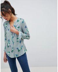 Oasis - Buttefly Print Collarless Shirt - Lyst