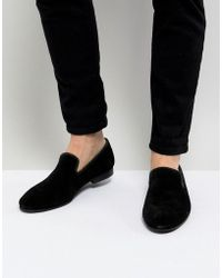 Dune - Suede Slipper Loafers Black Suede - Lyst