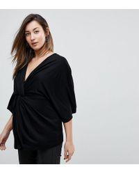 ASOS - Asos Design Maternity Twist Front Kimono Sleeve Top In Black - Lyst