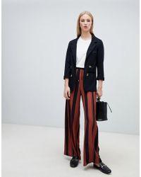 New Look - Stripe Drawstring Trousers In Brown Pattern - Lyst